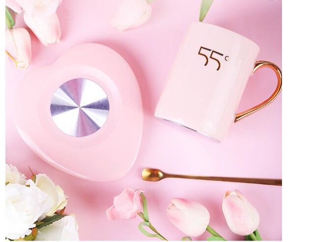 Электрический коврик для чашек, регулируемый нагреватель для чая, подогреватель кофе, термостат в форме сердца, теплая чашка, Дамский прибо...
