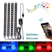 4pcs/set Car RGB LED Strip Light Colorful Styling Decorative Atmosphere Lamps Interior With Remote 12V