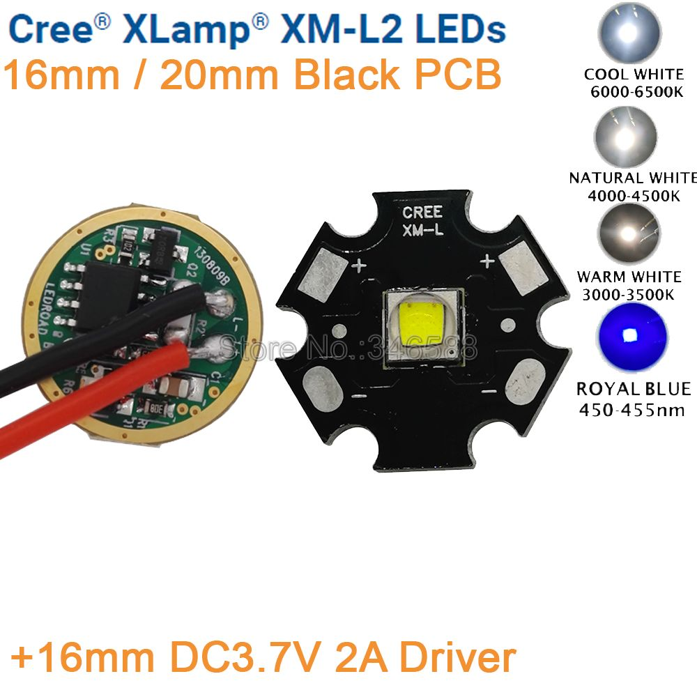 Cree XML2 XM-L2 T6 Սառը սպիտակ չեզոք սպիտակ ջերմ տաք սպիտակ 10W բարձր էներգիայի LED լիցքավորող 16 մմ սև PCB + 16 մմ DC3.7V 2A վարորդ 5 ռեժիմ