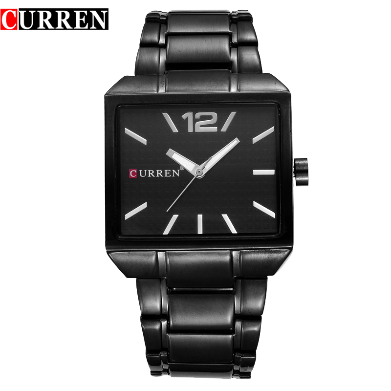 цены  New CURREN Watches Mens Brand Luxury Stainless Steel Quartz Watch Men Casual Black Clock Male Sport Watch Relogio Masculino 8132