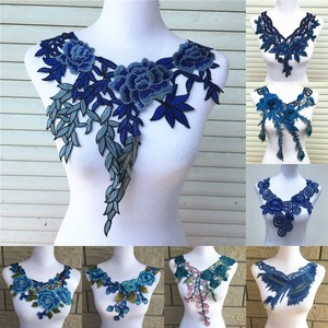 1pc Blue Series Lace Neckline Collar Flower and Heart Venise Lace Applique Trim, Lace Fabric Sewing Supplies Scrapbooking