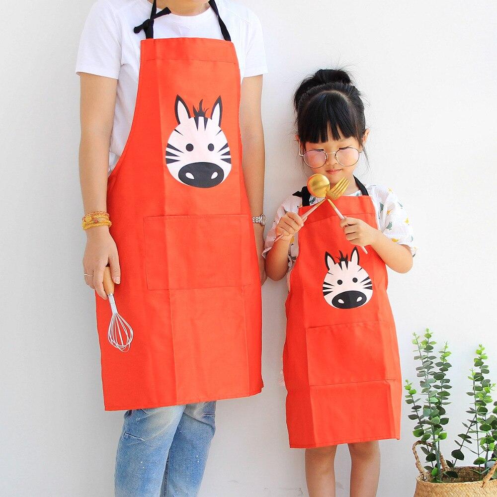 Parent-Child Apron Cartoon Bear Print Cotton Linen Bib Kitchen Apron Pinafore US