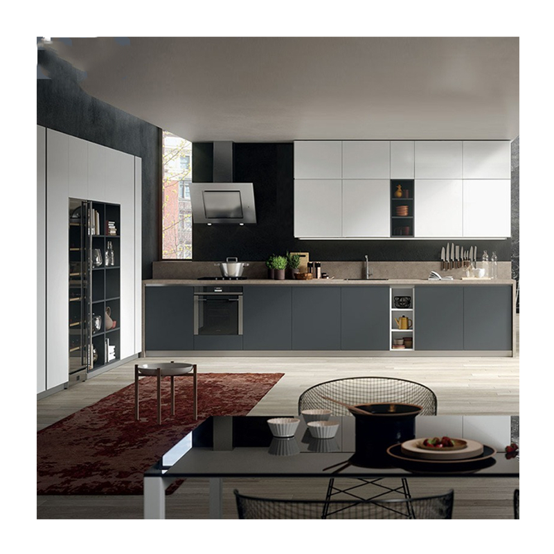Free Custom Design Modern Kitchen Unit Kitchen Furniture White PVC Membrance Kitchen Cabinets Benchtop