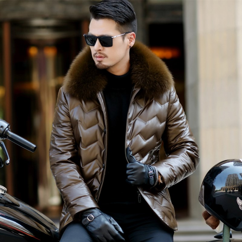 HTB1WYrQXdfvK1RjSspoq6zfNpXaS Jaqueta Couro Sale Men Engine Leather Parka Winter Down Jacket 2018 New Middle-aged Sheep Coats Large Size Outerwear Male No520