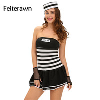 Feiterawn New 2017 Female 4pcs Sexy Guilty Prisoner Costume Cosplay Party Sexy Erotic Lingerie Police Costumes