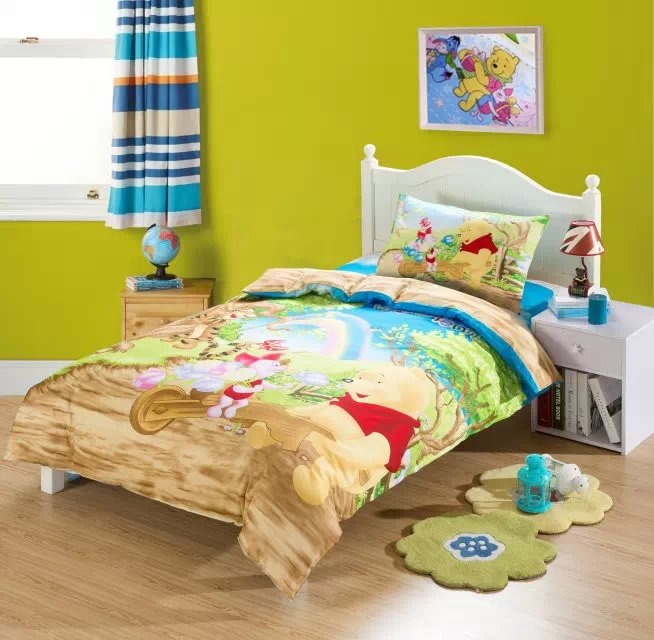yellow winnie the pooh comforter bedding sets single twin size bed duvet covers bedspread cotton. Black Bedroom Furniture Sets. Home Design Ideas