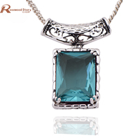 High Collection Royal Luxurious Wedding Bridal Jewelry 925 Sterling Silver Series GuYinHai Sapphire Pendant Necklace