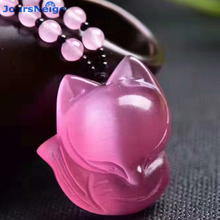 Wholesale Pink Cat's Eye Natural Stone Pendants Carved Fox S