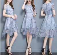 2018 New Brand Women S Printed Ladies Chiffon Dress Female Korean Temperament Long Paragraph Printed