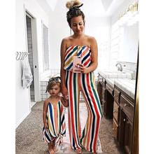 Family Matching Outfits Mother Daughter Clothes Boho Beach Kid Baby Girl Dress women Striped Romper Fashion summer clothing(China)