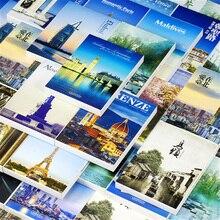 30 листов/набор путешествия по миру бумажная открытка поздравительная открытка городской пейзаж Открытка