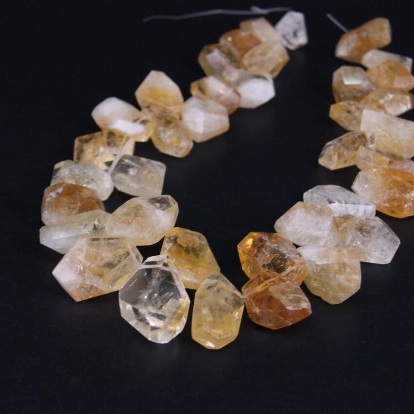 15.5/strand Natural Citrines Quartz Freeform Faceted Nugget Point Beads,Raw Roug Yellow Crystal Cut Slab Pendant Beads Jewelry 6pcs natural fluorite quartz crystal wand point healing