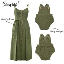 Simplee Повседневное платье на пуговицах для мамы и детей однотонная семейная одежда для мамы и ребенка хлопковое платье милый детский комбинезон летнее платье