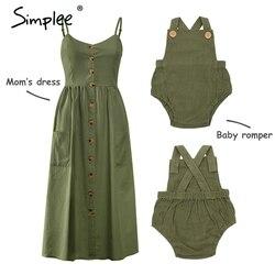 Mãe e crianças vestido de botão casual sólido combinando mãe roupas da família do bebê roupas de algodão vestido bonito do bebê vestido de verão
