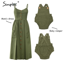 Madre y niños casual botón vestido sólido a juego mamá bebé familia ropa trajes algodón vestido lindo bebé romper vestido de verano
