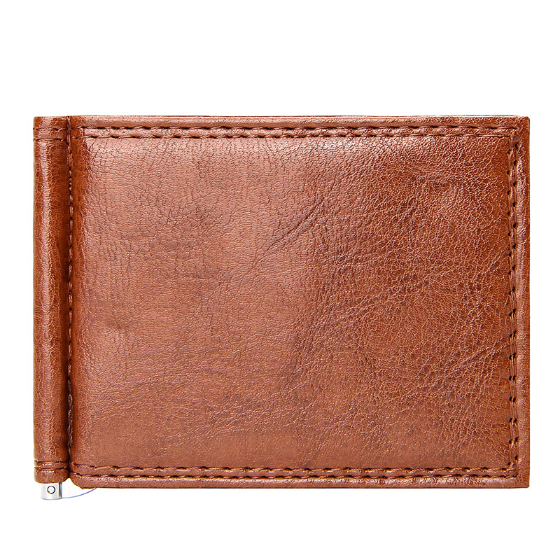 Vintage Slim Money Clip Luxury Quality Business Men Short Wallet with Coin Pocket Bifold Pu Leather Casual Cards Case Wallets