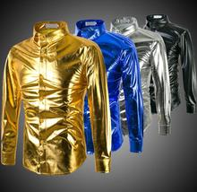 Fashion punk shirt men long sleeve teenage Gold and silver glossy mens casual clothes personality stage singer dance