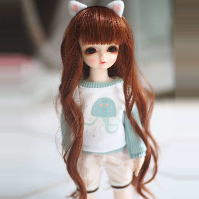 <font><b>1/3</b></font> 1/4 1/6 <font><b>Bjd</b></font> SD Doll <font><b>Wig</b></font> Wire Fashion Long Fashion <font><b>Brown</b></font> Wavy <font><b>BJD</b></font> Doll Hair image