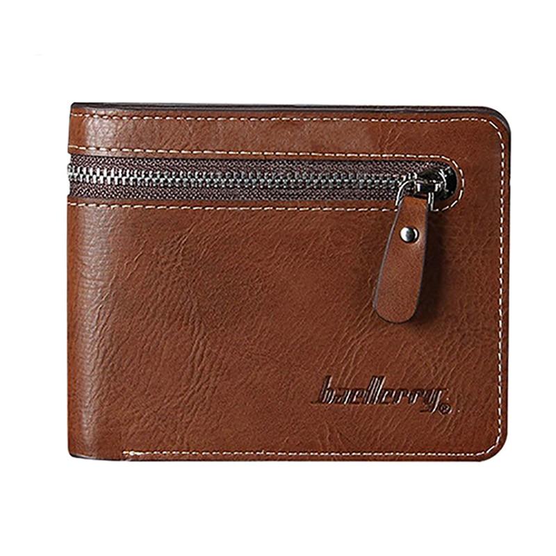 Men s Faux Leather ID Credit Card Holder Bifold Wallet Purse Zipper Short Clutch