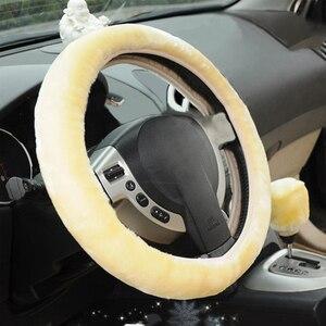 Image 3 - VODOOL רכב הגה חם חורף כיסוי חם ארוך צמר בפלאש פו פרווה בלם יד מכונית אביזרי רכב