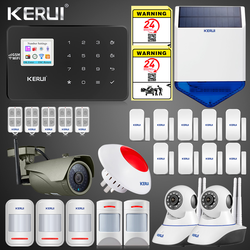2019 Updated W18 WIFI GSM SMS APP Home Burglar LCD GSM SMS Touch Screen Alarm Panel Home Security Alarm System IP Wifi Camera 1