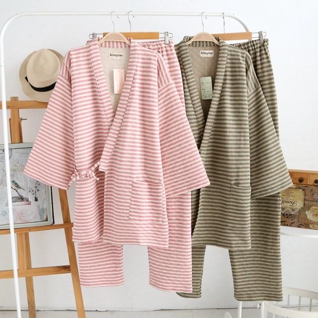 Unisex Das Mulheres Dos Homens Engrossado Casaco Quimono de Algodão Calças Pijamas Set Casa Sleepwear Banho Japonês 901-230