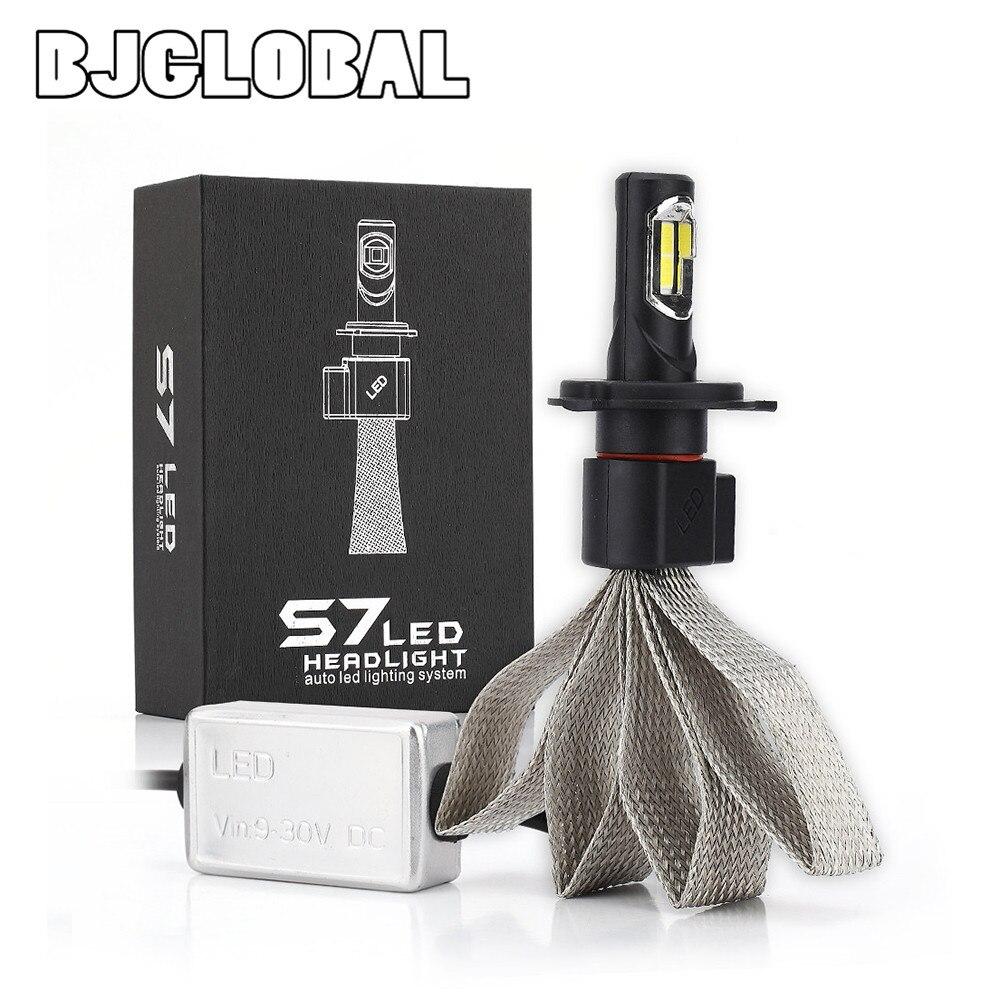 BJGLOBAL date S7 2X 4000LM H4/9003/HB2 Kit de ampoules de phares LED Hi/Lo faisceau 72 W 6000 K blanc avec des puces de COB-XM-L2