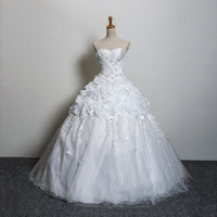 Wedding Dress 2015 Custom Made Bridal Gown Sexy Ball Gown Bling Crystal Sweetheart Off Shoulder Lace
