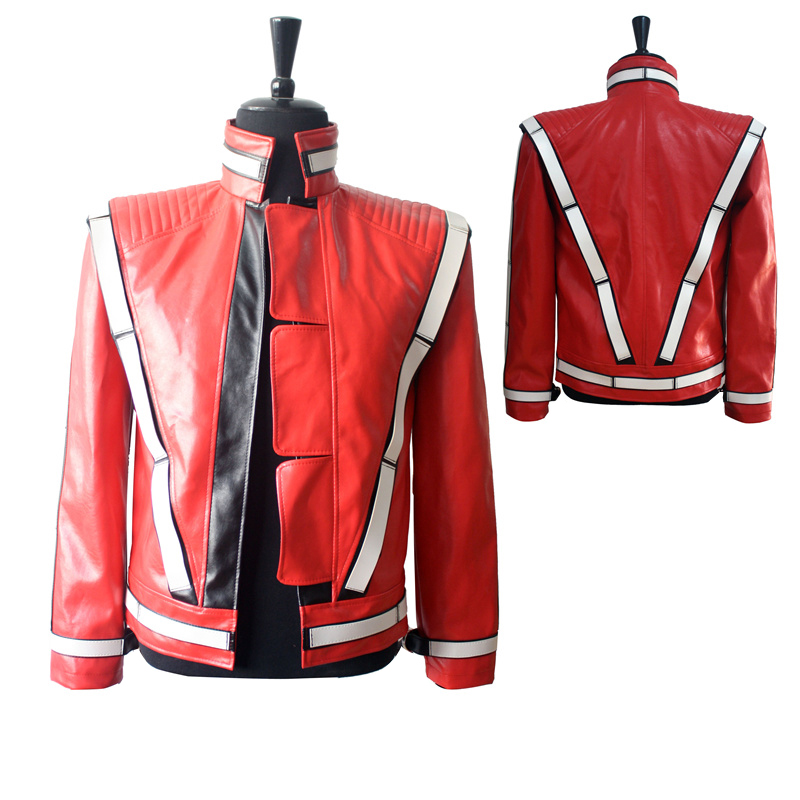 2016 Punk Novelty Rare Cool Men Red MJ Michael Jackson Thriller Open Stitch Vocal Concert Leather Fashion Jacket Outwear