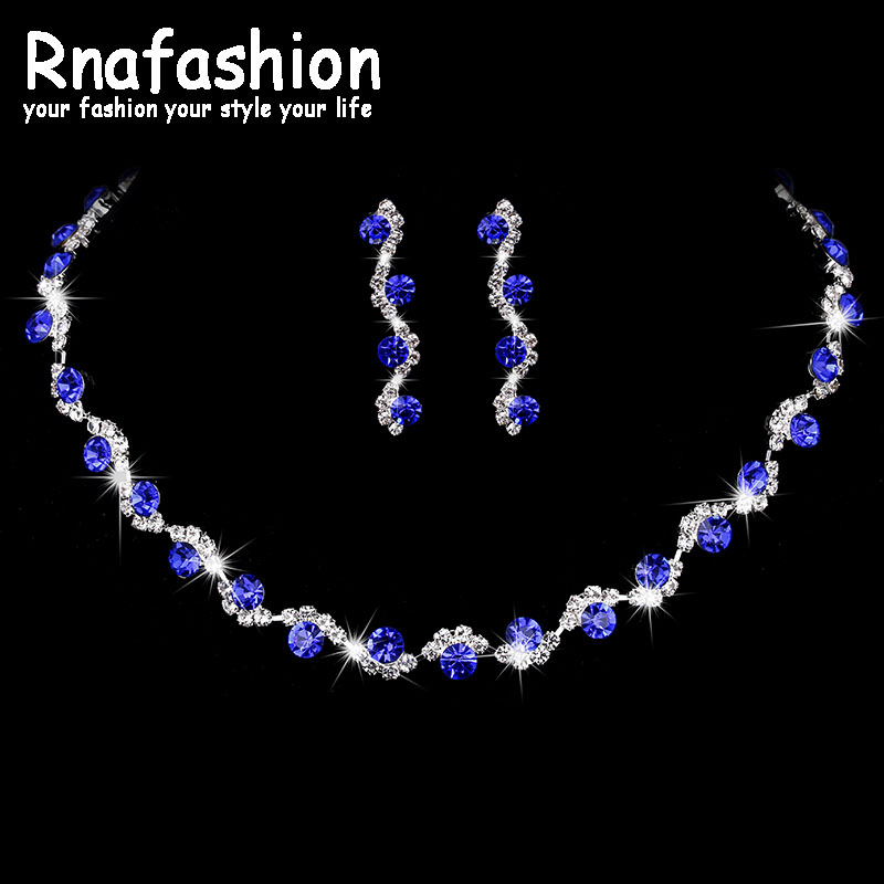 RNAFASHION Colorful Wedding Jewelry Sets Bridal Necklace Earring Unique Cute Beauty Simple Elegant for Woman Gift Jewellery