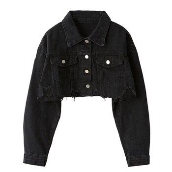 Ordifree Autumn Women Denim Jacket Long Sleeve Fashion Streetwear Casual Loose Outwear Short Ripped Jeans Jacket Coat 7