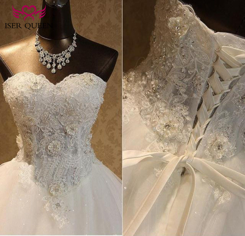 Beautiful Beading Embroidery Plus Size Charming Flower Appliques Princess Wedding Dress  Elegant Lace Wedding Gown WX0093