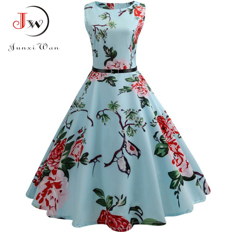 Summer Women Dresses  Casual Floral Retro Vintage 50s 60s Robe Rockabilly Swing Pinup Vestidos Sexy Party Dress Plus Size