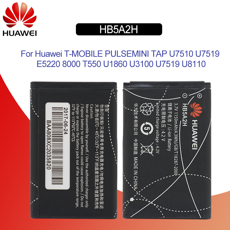 Expressive Hua Wei Hb5a2h Original Replacement Phone Battery For Huawei U7510 U7519 E5220 8000 T550 U1860 U3100 U7519 U8110 Li-ion 1150mah Mobile Phone Batteries