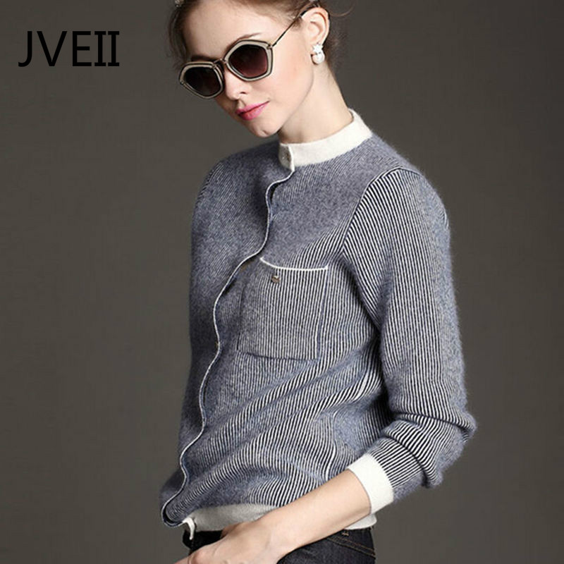JVEII 2018 new round neck pure cashmere cardigan female thick loose short sweater vertical bar baseball sweater coat jacket