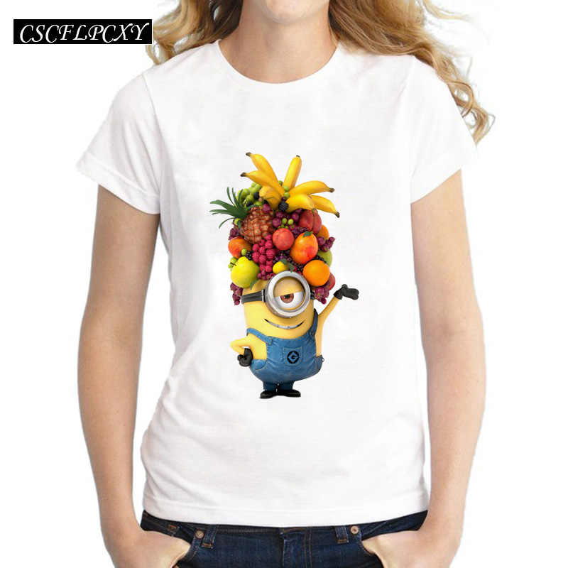 98285b3dec1 T Shirt Women 2017 Summer Tops Fruits Minions Print T-shirt Femme Loose Short  Sleeve