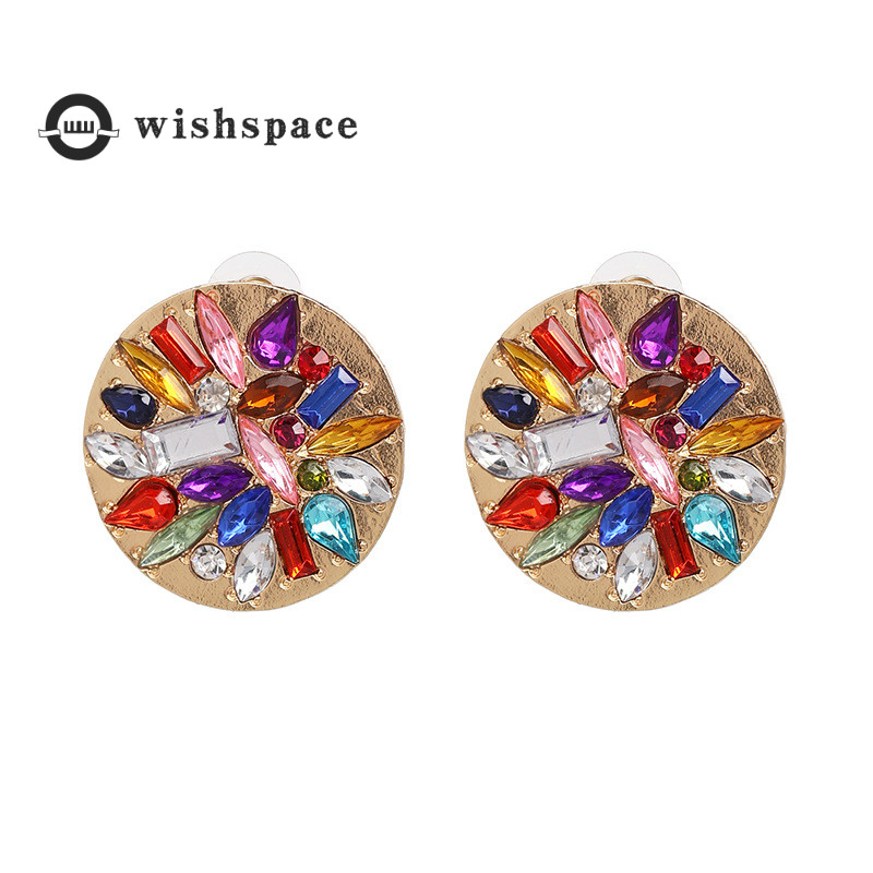 The new round of high-grade glass Bohemian fashion earrings