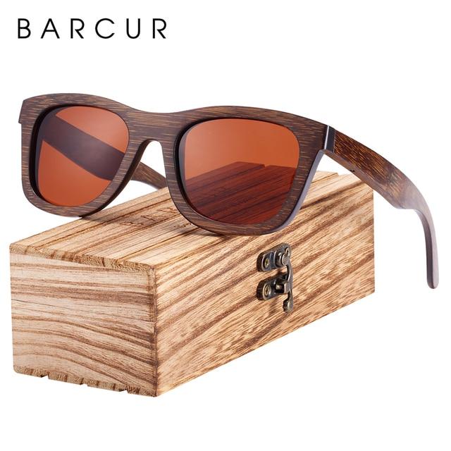 BARCUR Wood Sunglasses Bamboo Brown Full Frame Wooden Sun Glasses Men Polarized Vintage Women Eyewear