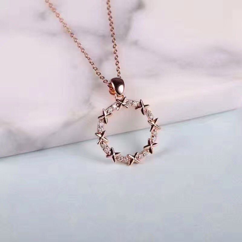 ANI 18K Rose Gold (AU750) Pendant Necklace 0.23 Carat Real Diamond Jewelry Custom Chain Necklace for Women Engagement Birthday genuine 18k 750 rose gold 1ct hearts arrows test positive lab grown moissanite diamond engagement pendant necklace chain women