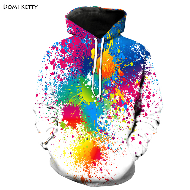 Domi ketty boys girls hoodies 3D print colored dot kids baby white casual sweatshirt clothes children long sleeve tops outerwear