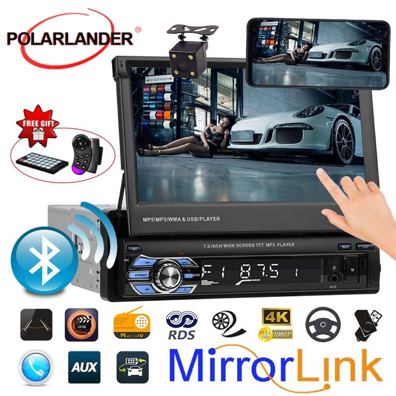 "7"" USB/SD/AUX/EQ/FM/TFT Car Radio 3 languages Bluetooth radio cassette player 12V 1 Din Touch Screen Mirror Link  Autoradio"