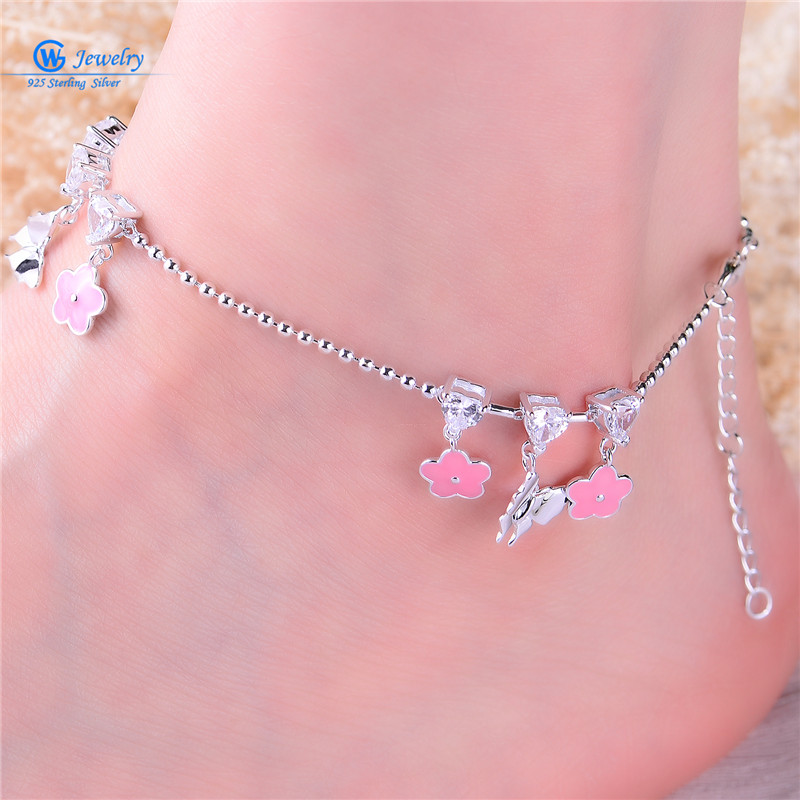 цена Gw Jewelry 925 Silver Foot Chain Butterfly And Flower Girl Pink Anklet Chain 925 Pure Real Silver Anklet Ac002H20