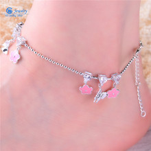 Gw  Jewelry  925 Silver Foot Chain Butterfly And Flower Girl Pink Anklet Chain 925 Pure Real Silver Anklet Ac002H20