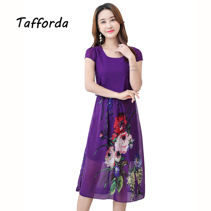 Tafforda Casual Sexy Summer Dress 2017 Women Round Neck Chiffon Cover Belly Flower Printing Large Size