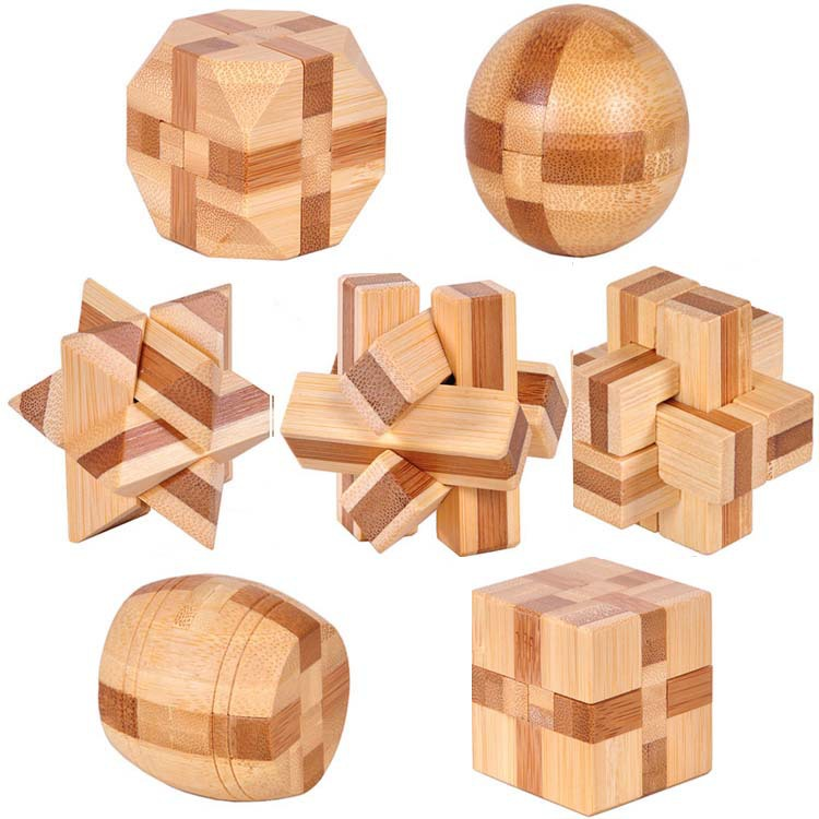7pcs/lot 3D Eco-friendly bamboo IQ jigsaw brain teaser adults puzzle,educational wooden toys for kids