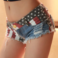 Sexy Low Waist Denim Women American Flag Shorts 2017 New Fashion Lace Up Shorts Club Style