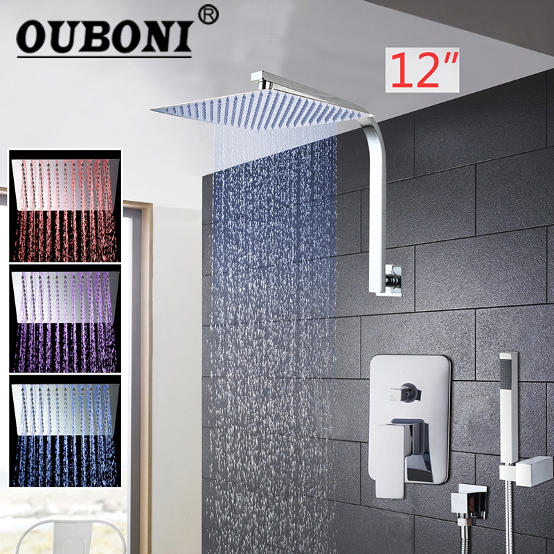 12 Inch LED Rainfall Bathroom Shower Kit Hand Shower Shower Head Wall Mounted Square Style Chrome Brass Waterfall Shower Set