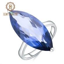 Mücevher bale 11.45Ct markiz doğal Iolite mavi mistik kuvars taş yüzük 925 ayar gümüş yüzük kadın güzel takı