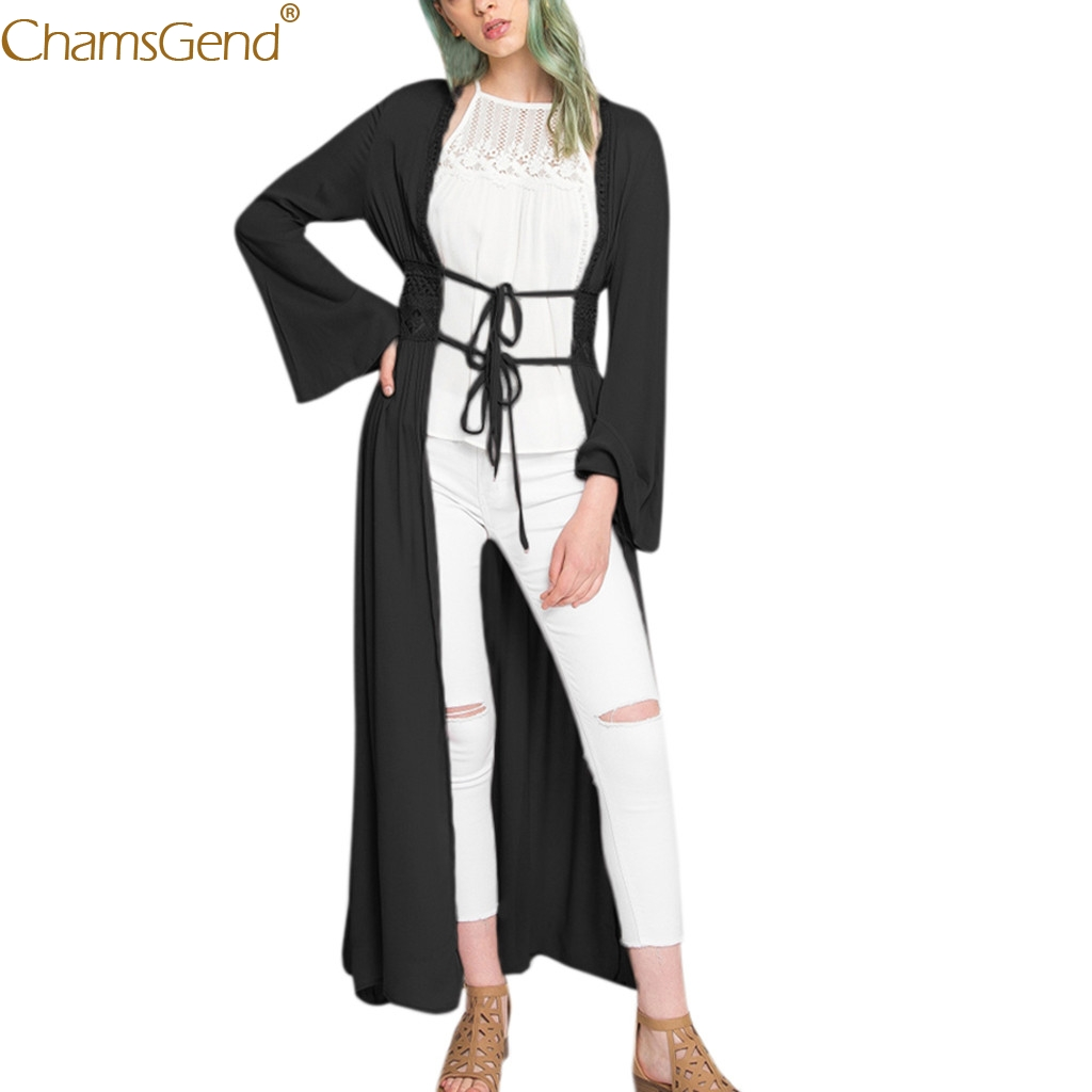 New Women Coat Lady Solid Casual Lace Kimono Loose Long Sleeve Shawl Cardigan Cardigan Cover Up Autumn Outerwear Dec12