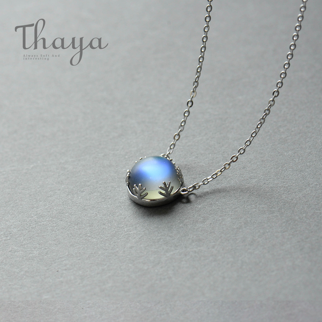 Thaya Aurora Necklace Halo Crystal Gemstone s925 Silver
